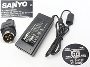 Genuine 12V 4-Pin DIN Adapter Charger Supply for Sanyo JS-12050-2C CLT2054 CLT1554 LCD TV Monitor
